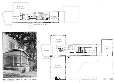 Alfred and Jane West Clauss, plans and screened porch, Mengel House, Knoxville, Tenn., 1940. Architectural Record, December 1940 © Architectural Record/McGraw Hill