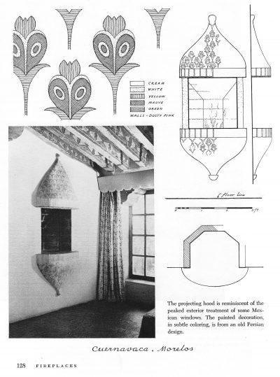 Decorative details, Cuernavaca, Moreles, Mexico, from Verna Cook Shipway and Warren Shipway, The Mexican House: Old and News (960), 128
