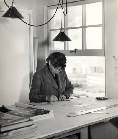Lutah Maria Riggs at her drafting table, 1939. Architecture and Design Collection, Art, Design & Architecture Museum, University of California, Santa Barbara