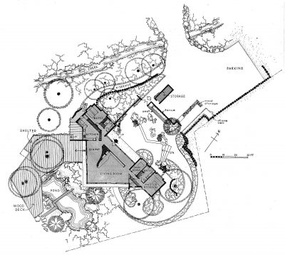 Riggs and Shaw, Alice Erving House, Montecito, Calif., 1949–51. Site plan and first floor plan published in House Beautiful, May 1961. Thomas Church designed the landscape. Courtesy of Mary McLeod