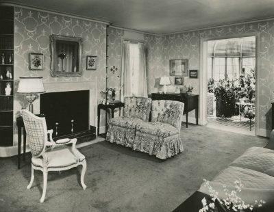 Verna Cook Salomonsky, Sitting Room, Garden Home #13, Town of Tomorrow, New York World's Fair, 1939-40. Manuscripts and Archives Division, The New York Public Library