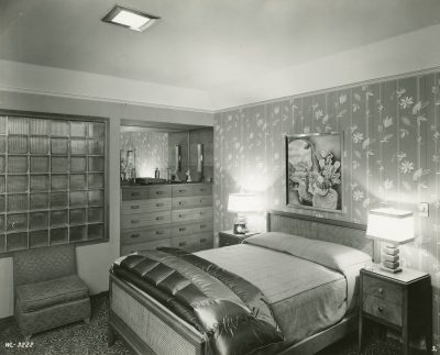 Verna Cook Salomonsky, Bedroom, Garden Home #13, Town of Tomorrow, New York World's Fair, 1939-40. Manuscripts and Archives Division, The New York Public Library