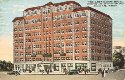 Nelle E. Peters, Ambassador Hotel and Apartments, 3560 Broadway, Kansas City,  Mo., 1924–25. Vintage postcard. Missouri Valley Special Collections, Kansas City Public Library, Mo.