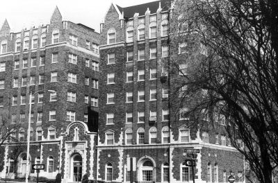 Nelle E. Peters, Cleveland Arms Apartments (currently Ellison Apartments), 300 W. Armour Boulevard, Kansas City, Mo., 1926. Photograph by Sherry Piland, circa 1986