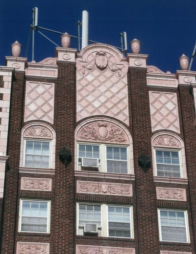 Nelle E. Peters, Commodore Hotel, façade detail, Wichita, Kan., 1929. Photograph by Christy Cauble Davis