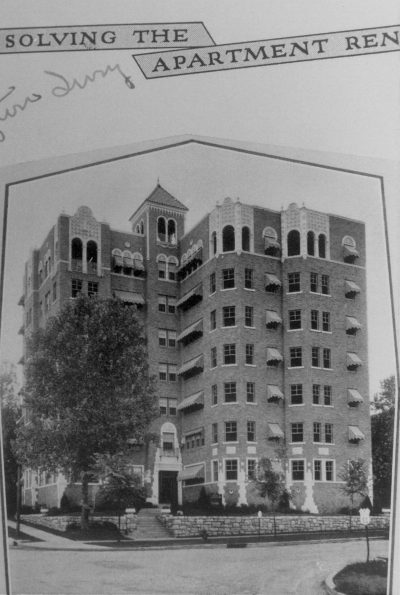 """Nelle E. Peters, Washington Irving Apartments, 4746 Roanoke Parkway, Kansas City, Mo., 1928. """"Solving the Apartment"""" in Nelle E. Peters's scrapbook. Courtesy of Robert Bawden"""
