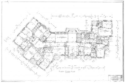 Nelle E. Peters, James Russell Lowell Apartments, 22 Ward Parkway, Kansas City, Mo., 1929. First floor plan. Missouri Valley Chapter-Society of Architectural Historians Architectural Collection, State Historical Society of Missouri Research Center-Kansas City