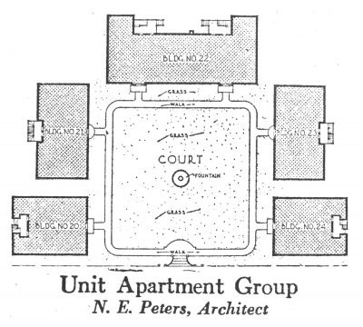 Nelle E. Peters, site plan of courtyard apartment complex, published in Building Age and National Builder, November 1924
