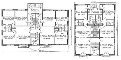 Nelle E. Peters, floor plans of courtyard apartments, published in National Builder, June 1924