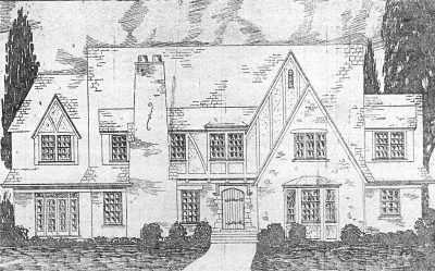 Nelle E. Peters, H. N. Knight Residence, Oklahoma City, 1926. Rendering published in the Kansas City Journal Post, June 6, 1926