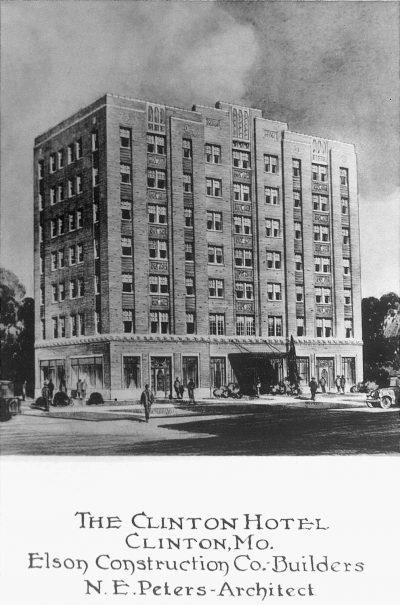 Nelle E. Peters, Clinton Hotel, Clinton, Mo., 1920s. Vintage postcard in Nelle E. Peters's scrapbook. Courtesy of Robert Bawden