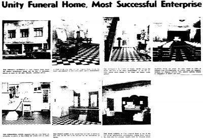 """A photo display appearing in the New York Amsterdam News, June 12, 1954, announcing the opening of the new Unity Funeral Home, designed by Beverly Greene. A caption states that the building was """"planned to give best service in New York."""""""