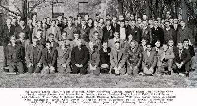 Yearbook photograph of Beverly Greene with other members of the student chapter of the American Society of Civil Engineers (ASCE) on the University of Illinois Champaign-Urbana campus, 1936. Greene is standing in the second row, third from the left. Illino Media/Illio yearbook