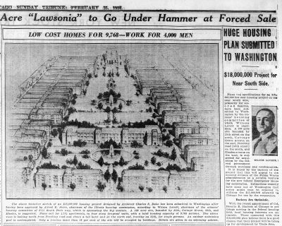 Newspaper article in the Chicago Tribune showing Charles Sumner Duke's proposal for low-income public housing on Chicago's South Side, February 25, 1934