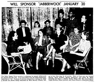 Beverly Greene (left) meeting with sorority sisters to organize a Delta Sigma Theta annual Jabberwock event in 1940. Photograph by Gushiniere, published in the Chicago Defender, January 6, 1940.