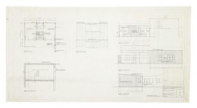 Preliminary plans and elevations, drawn by Beverly Greene, for a proposed addition to the Rockefeller (Winthrope) House, August 1952. Marcel Breuer Papers, Special Collections Research Center, Syracuse University Libraries.