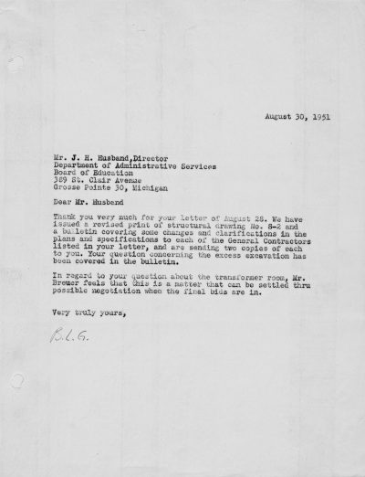Beverly Greene, letter to J. H. Husband, Director of Grosse Pointe, Mich., Board of Education, August 30, 1951, concerning a revised structural drawing and a bulletin clarifying construction specifications for the Grosse Pointe Library. Marcel Breuer Papers, Special Collections Research Center, Syracuse University Libraries