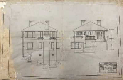 Julia Morgan, Mitchell-Williams House, elevations, Berkeley, Calif., 1915. Julia Morgan Collection, Environmental Design Archives, University of California, Berkeley