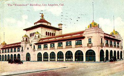Julia Morgan, vintage postcard of the Examiner Building, Los Angeles, circa 1915