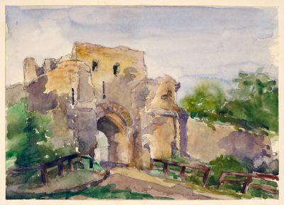 Julia Morgan, watercolor of a medieval gate, Provins, France, circa 1898. Julia Morgan Papers, Special Collections, Cal Poly San Luis Obispo