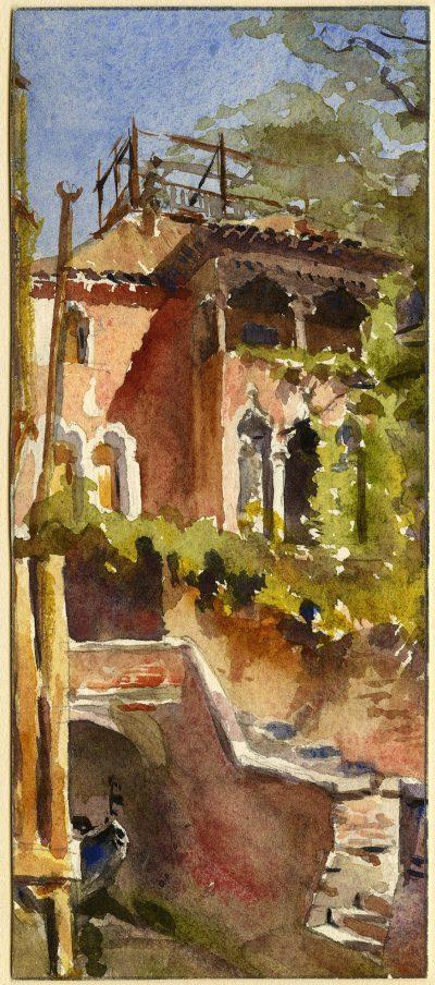 Julia Morgan, watercolor of the rear facade of Ca'Dario, Venice, seen from Campiello Barbaro, circa 1896-1901.