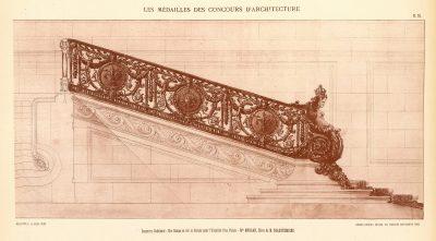 """Julia Morgan, """"Rampe d'escalier pour un palais,"""" Godebouef Competition, 1901. Published in Les Medailles des Concours d'Architecture de l'École National des Beaux-Arts: 4e Année Scolaire 1901–1902 (Paris: A. Guérinet, 1902)"""