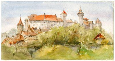 Julia Morgan, watercolor of a German castle (possibly Braunfels), circa 1896–1901. Julia Morgan Papers, Special Collections, Cal Poly San Luis Obispo