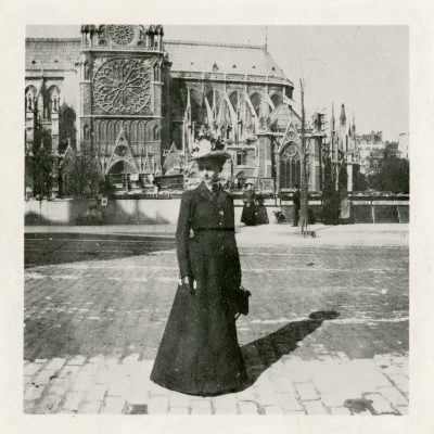 Julia Morgan standing in front of Notre Dame, Paris, 1901. Julia Morgan Papers, Special Collections, Cal Poly San Luis Obispo