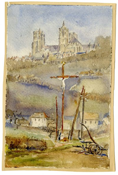 Julia Morgan, watercolor of Laon Cathedral, France, painted as a school assignment, circa 1901. Julia Morgan Papers, Special Collections, Cal Poly San Luis Obispo