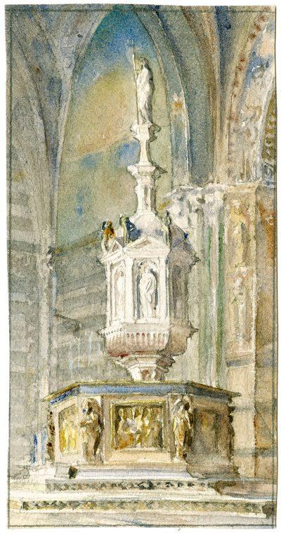 Julia Morgan, watercolor of baptismal font, Battistero di San Giovanni, Siena, Italy, circa 1901. Julia Morgan Papers, Special Collections, Cal Poly San Luis Obispo
