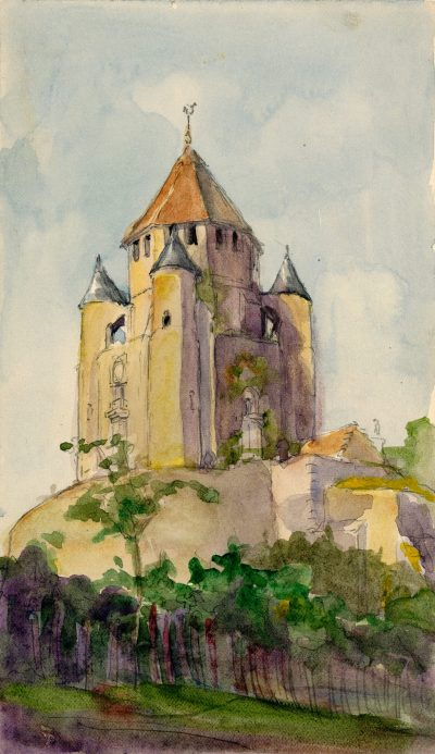 Julia Morgan, watercolor of the Tour Cesar, Provins, France, circa 1898. Julia Morgan Papers, Special Collections, Cal Poly San Luis Obispo