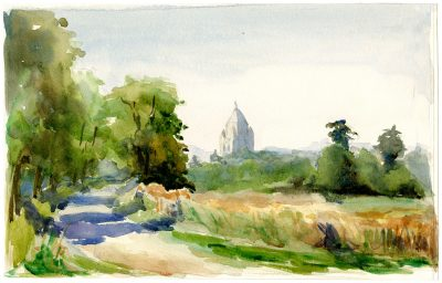 """Julia Morgan, watercolor of landscape showing the Tour Cesar in the distance. Morgan noted on the back of the image """"On the road above Provins, August 1898."""" Julia Morgan Papers, Special Collections, Cal Poly San Luis Obispo"""