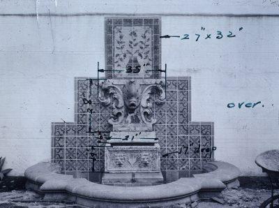 Julia Morgan, fountain, YWCA, Honolulu, circa 1925. Sara Holmes Boutelle Papers, Special Collections, Cal Poly San Luis Obispo