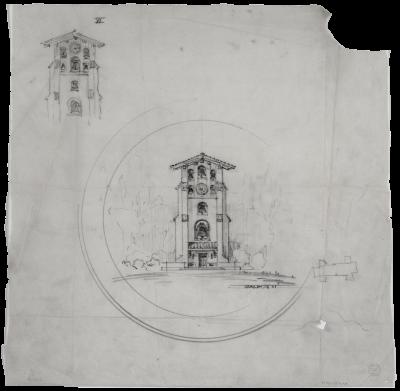 Julia Morgan, sketch study for El Campanil, Mills College, Oakland, Calif., 1903. Julia Morgan Papers, Special Collections, Cal Poly San Luis Obispo