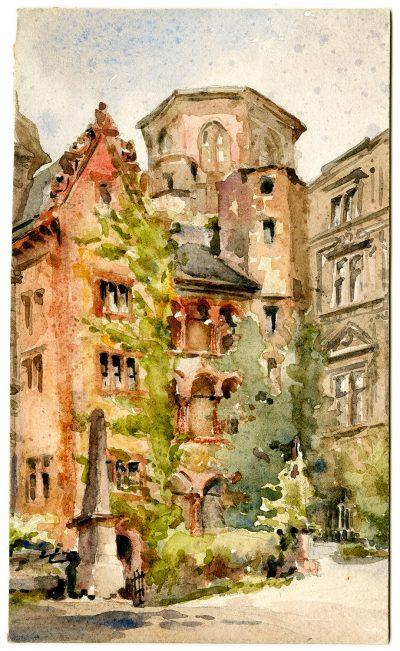 Julia Morgan, watercolor of Heidelberg Castle, circa 1896–1901. Julia Morgan Papers, Special Collections, Cal Poly San Luis Obispo
