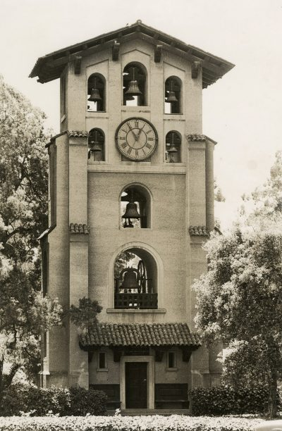Julia Morgan, El Campanil, Mills College, Oakland, Calif., 1903–04. Photograph by James Edelen. Sara Holmes Boutelle Papers, Special Collections, Cal Poly San Luis Obispo