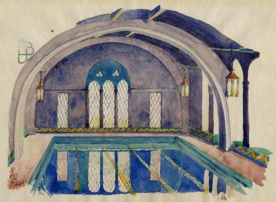 Julian C. Mesic, watercolor of Julia Morgan's pool for the Berkeley Women's City Club, 1933. Julia Morgan Papers, Special Collections, Cal Poly San Luis Obispo