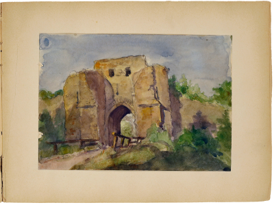 Julia Morgan, watercolor of medieval gate, Provins, France, circa 1898. Julia Morgan Papers, Special Collections, Cal Poly San Luis Obispo